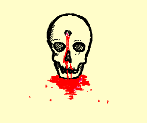 Skull Ontop Of Blood With A Bullet Hole Drawing By Omnomii