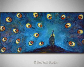 ORIGINAL Painting - Peacock Art LARGE Turquoise Blue Peacock Painting  - Art Deco Art  48x24 by BenWill