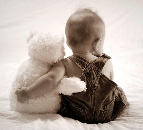 Too cute...boy and teddy.