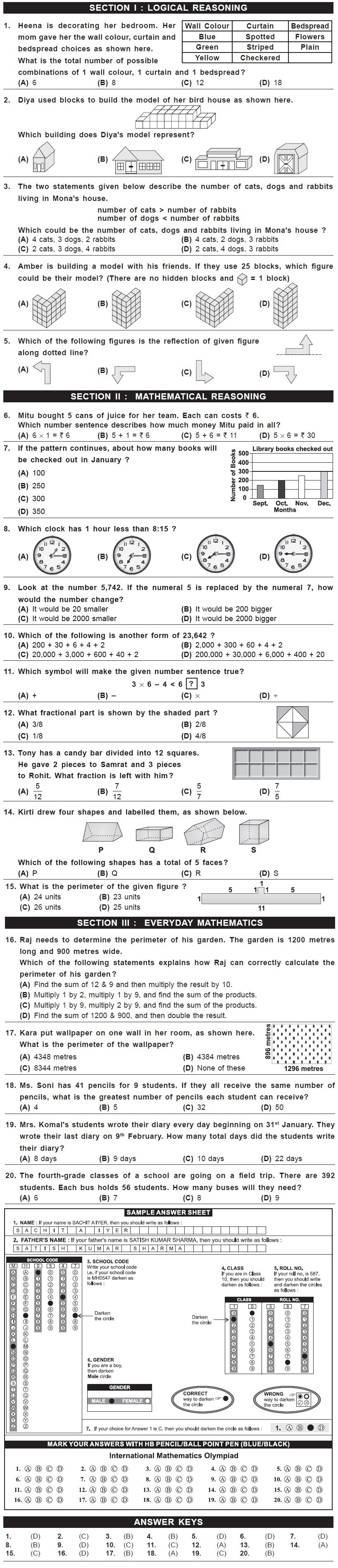 8th Imo Sample Papers For Class 4 2nd Level Exam 2015 2nd