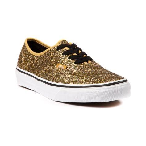 vans authentic glitter skate shoe gold