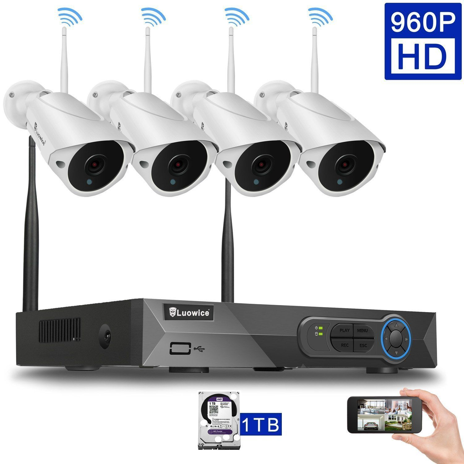 Luowice 4CH 960p HD Wireless Home Security Camera System with 4x ...