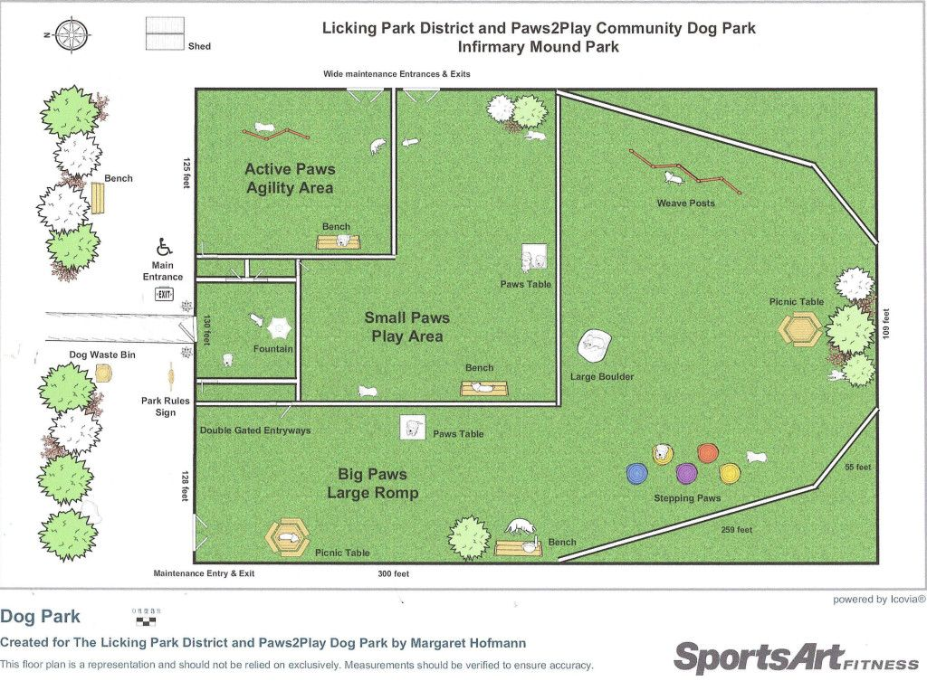 Park layout paws2play community dog park own a dog for Dog kennel layouts