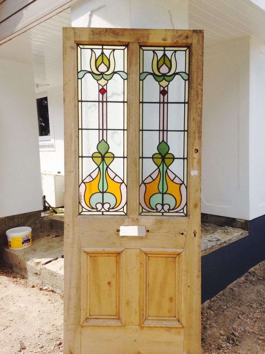 Original victorian stained glass front door stained glass doors large victorian stained glass front door big old wood solid reclaimed period ebay eventelaan Gallery