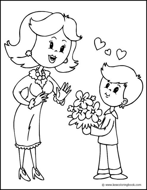 Mother And Son Coloring Page Mothers Day Coloring Pages
