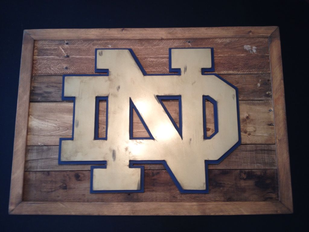 Hand distressed Notre Dame 3-D logo sign. Reclaimed wood sign. 3-D ...