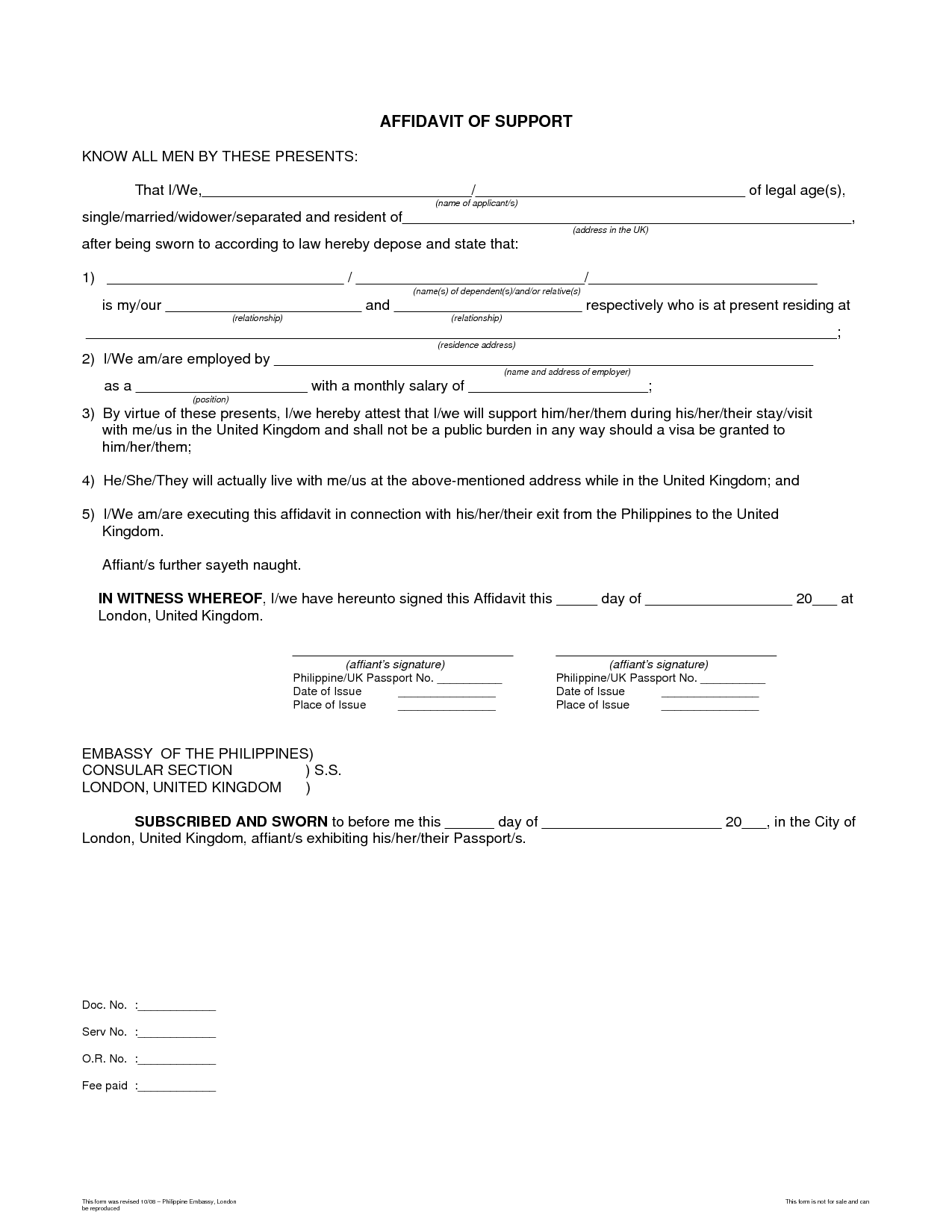 Affidavit Bagnas affidavit of support sample – Free Printable Affidavit Form