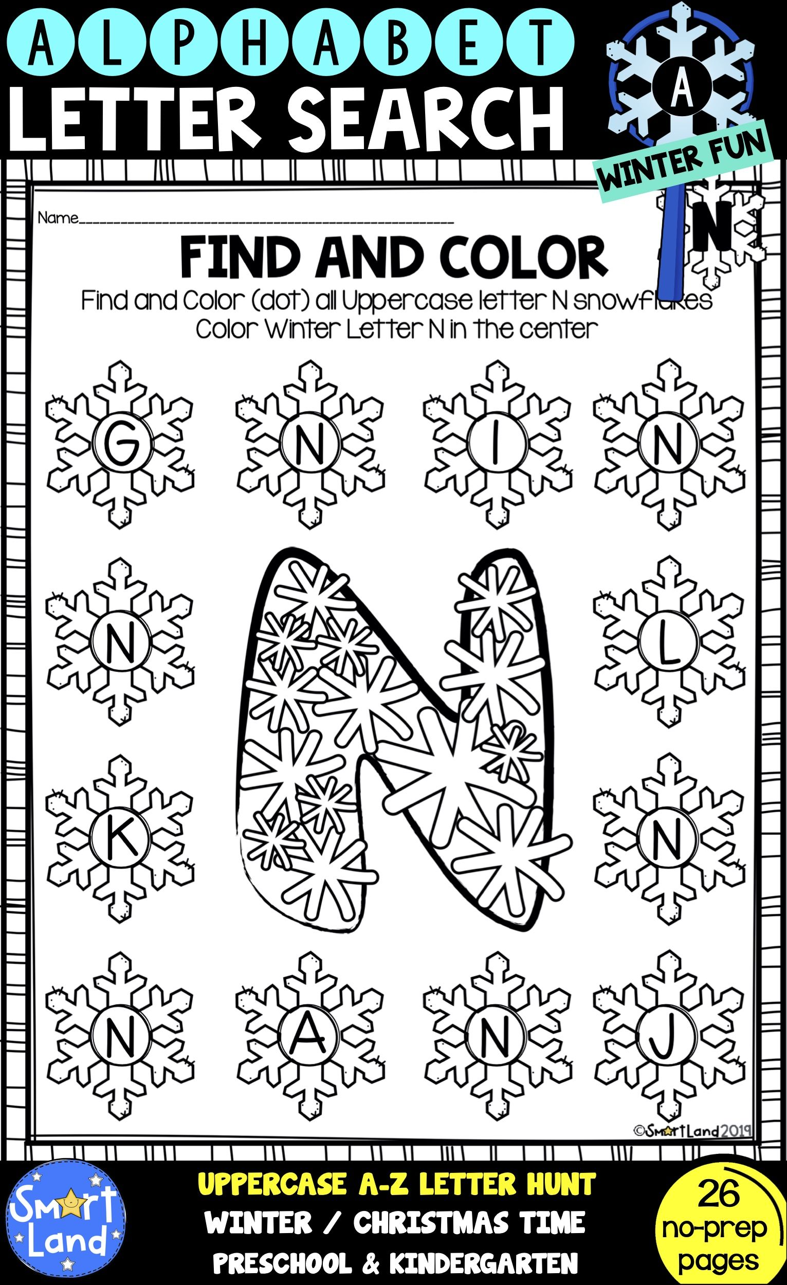 Alphabet Practice Letter Search Snowflake