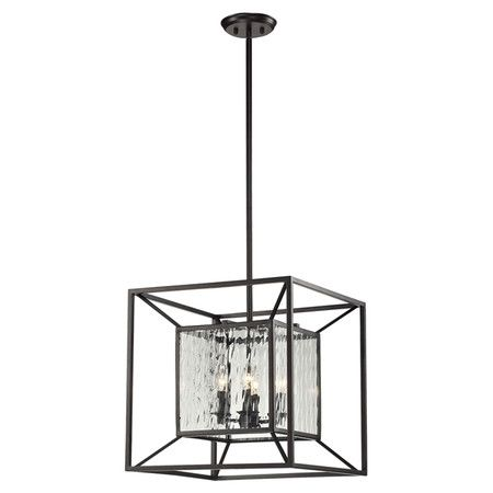 West Park Elliot 4 Light Pendant With An Open Cube Frame And Water Gl Panels