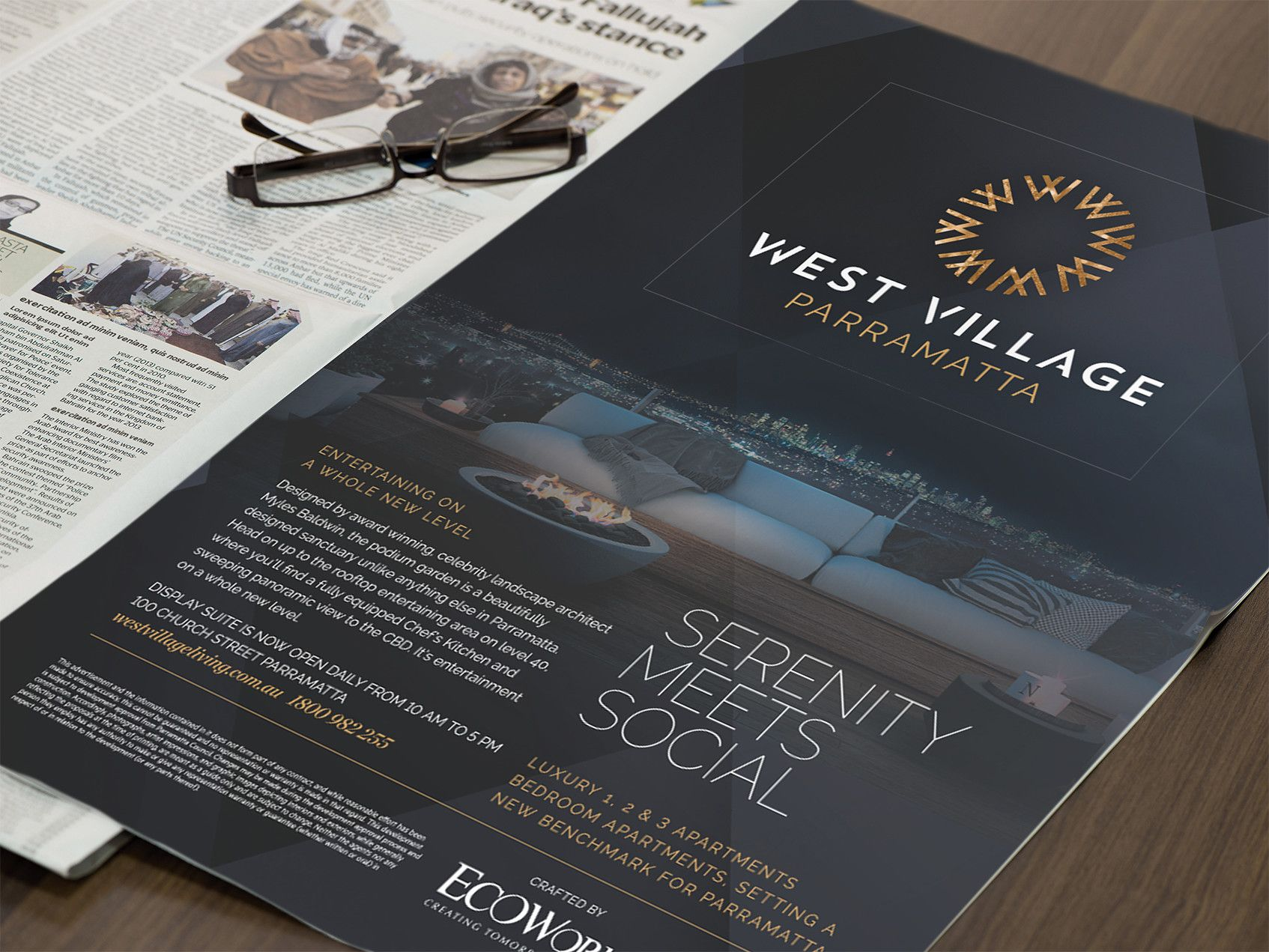ecoworld westvillage full page editorial ad by hoyne design