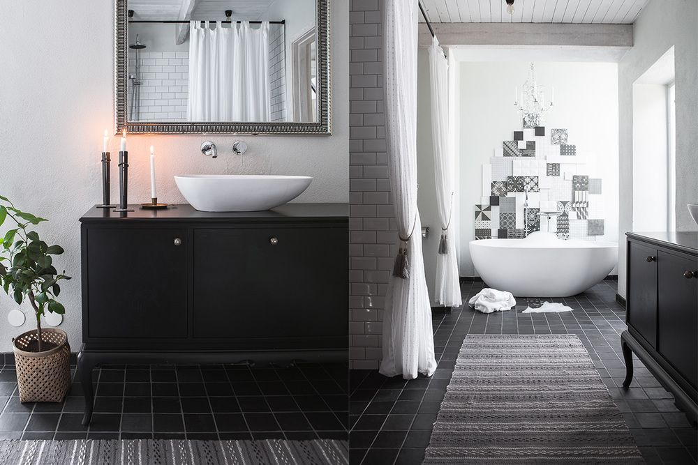 Bathroom interior white and black