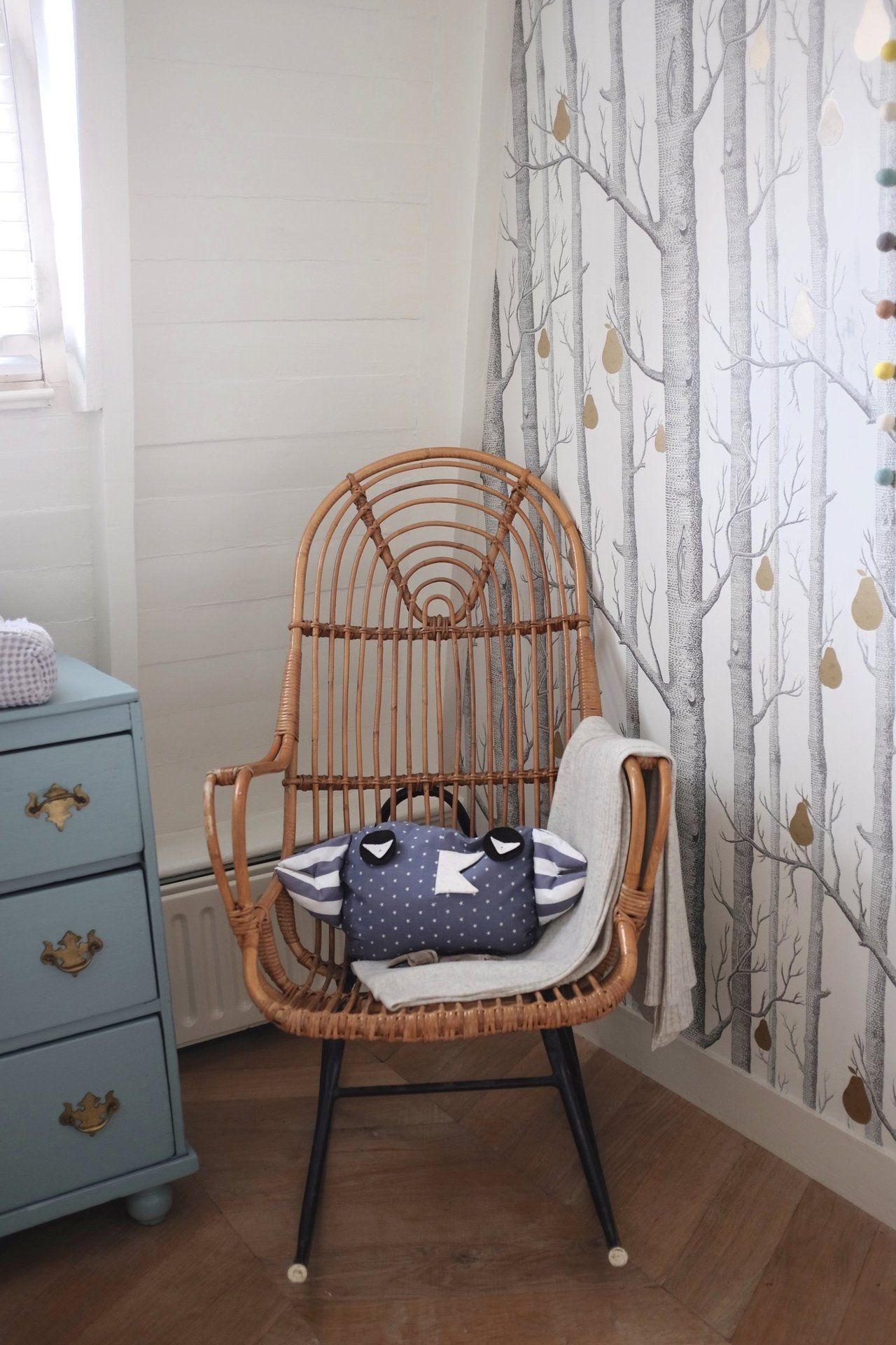 Sri's Classic & Contemporary Amsterdam Home | #nursery #kidsroom The classic birth tree wallpaper from Cole & Son is DIYed with gold pears to add a hint of whimsical and personal touch.