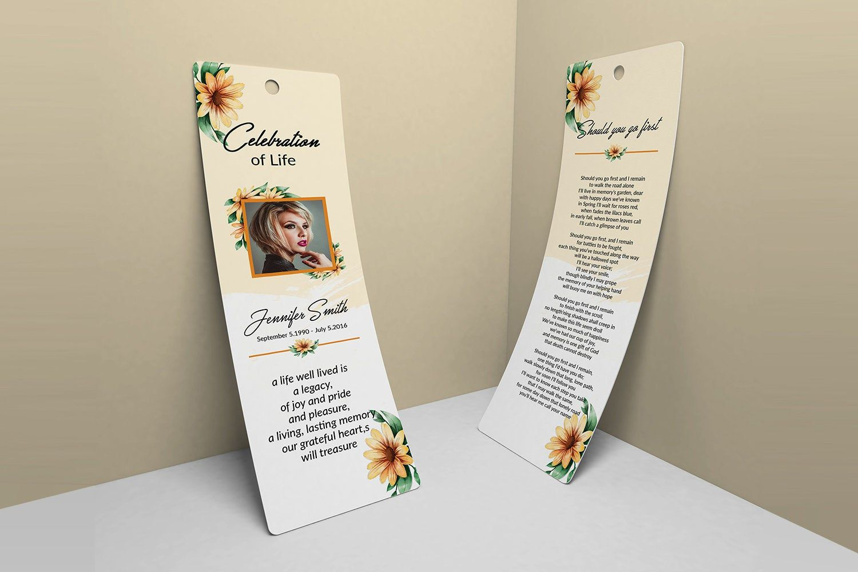 Funeral Bookmark Template Memorial Bookmark Printable Bookmark