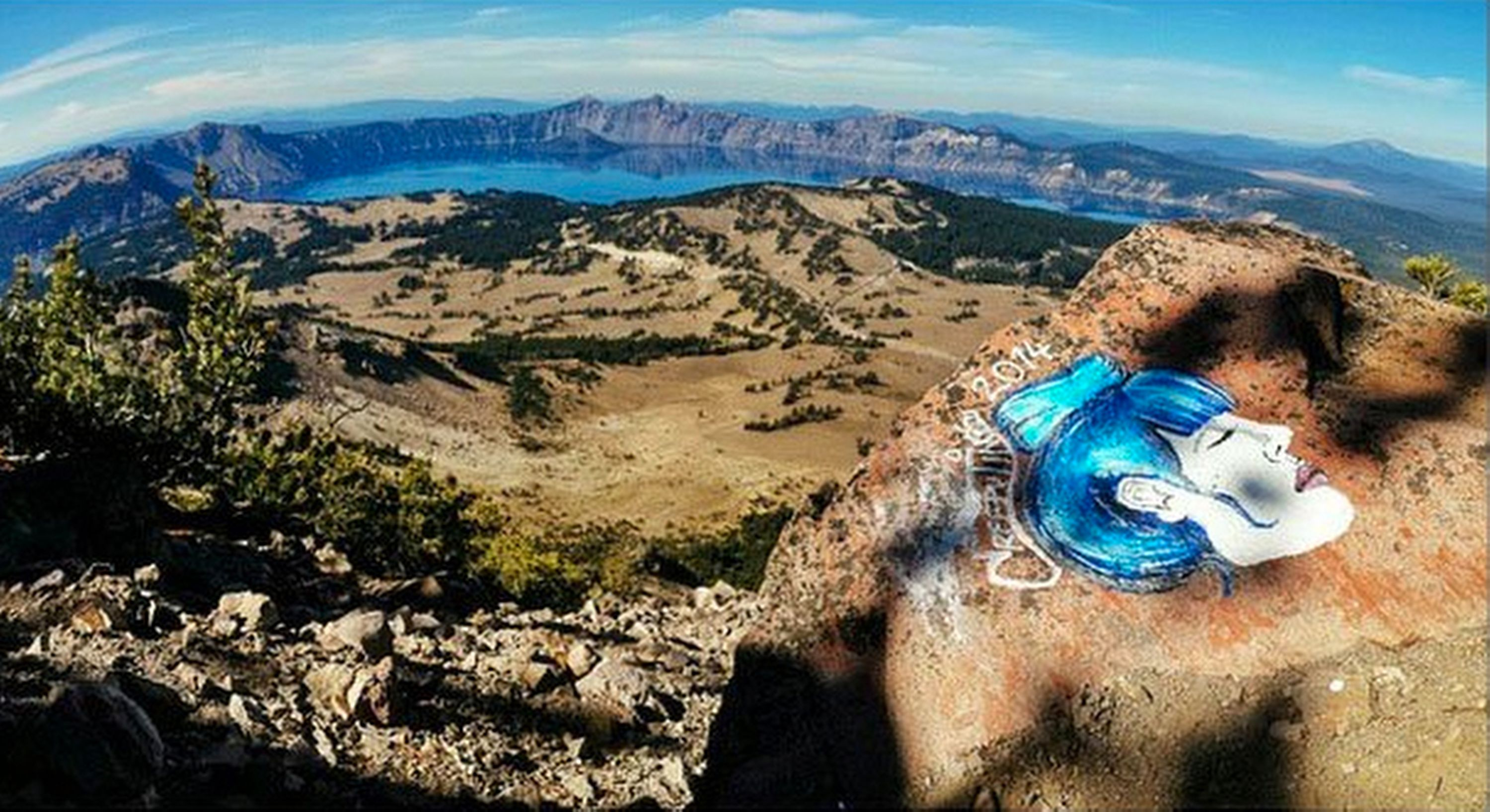 SALT LAKE CITY: PAINTING IN ROCK  CRATER LAKE OREGON,  A  NATIONAL PARK,  IS OBJECT OF RESEARCH.
