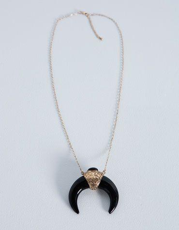 Bershka Polska Naszyjnik Z Czarnymi Rogami Pendant Necklace Pendant Jewelry