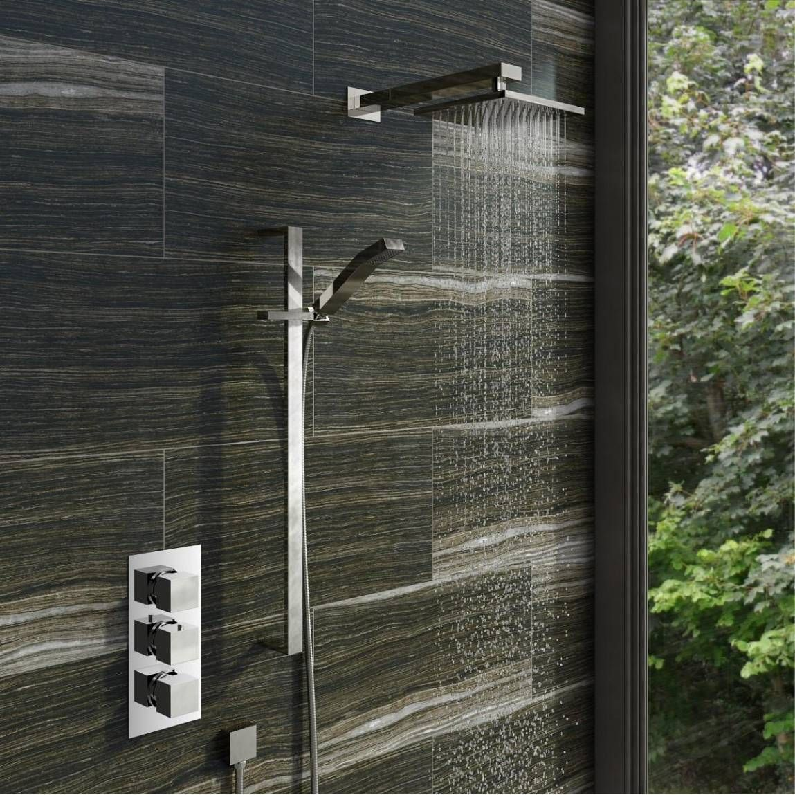 Mode Ellis thermostatic triple shower valve complete shower set ...