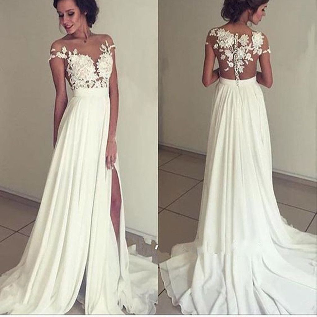 long white appliques floorlength charming evening party prom