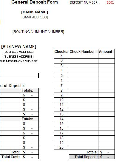 Bank deposit excel file templates pinterest bank for Checking deposit slip template