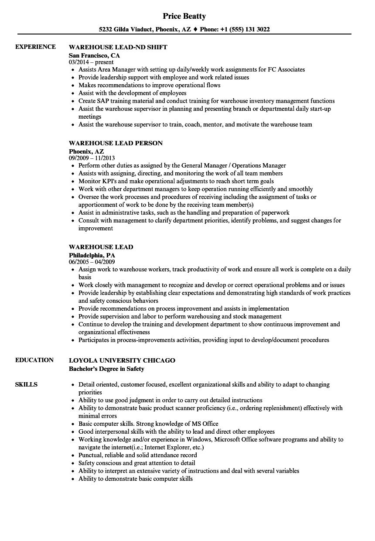 Warehouse Lead Resume Samples Warehouse Jobs Job Description Warehouse Worker