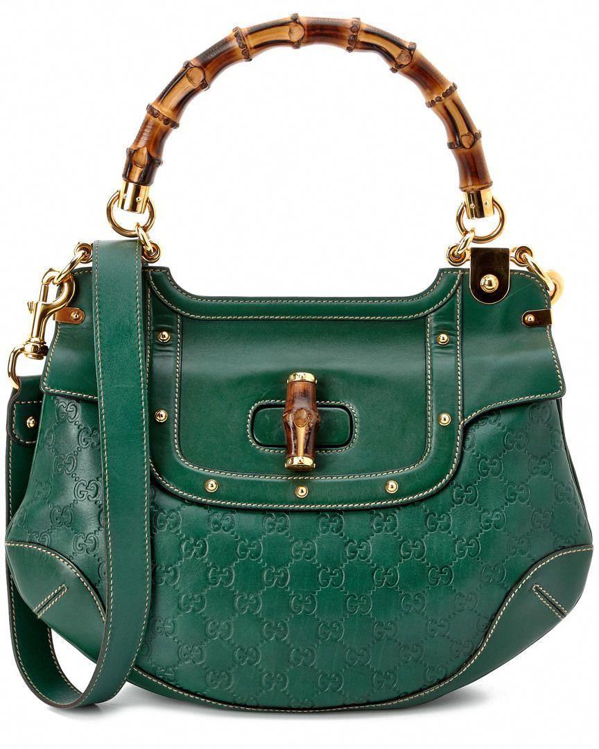 4efebaddb89efb Gucci Green Leather Bamboo Handle Bag is on Rue. Shop it now. #Guccihandbags
