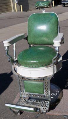 Theo A Kochs 1910 Antique Barber Chair Green Porcelain