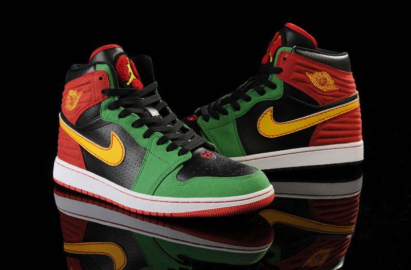 Mens Nike Air Jordan I 1 Retro Black Green Shoe Wholesale
