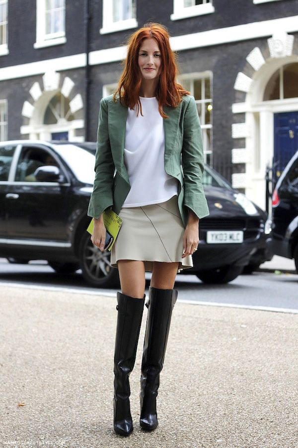 London Street Style: Taylor Tomasi Hill with her stunning red hair, green blazer, skirt & over-the-knee boots #style #fashion