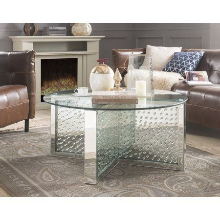 Tremendous Acme Nysa Round Coffee Table In Mirrored And Faux Crystals Machost Co Dining Chair Design Ideas Machostcouk