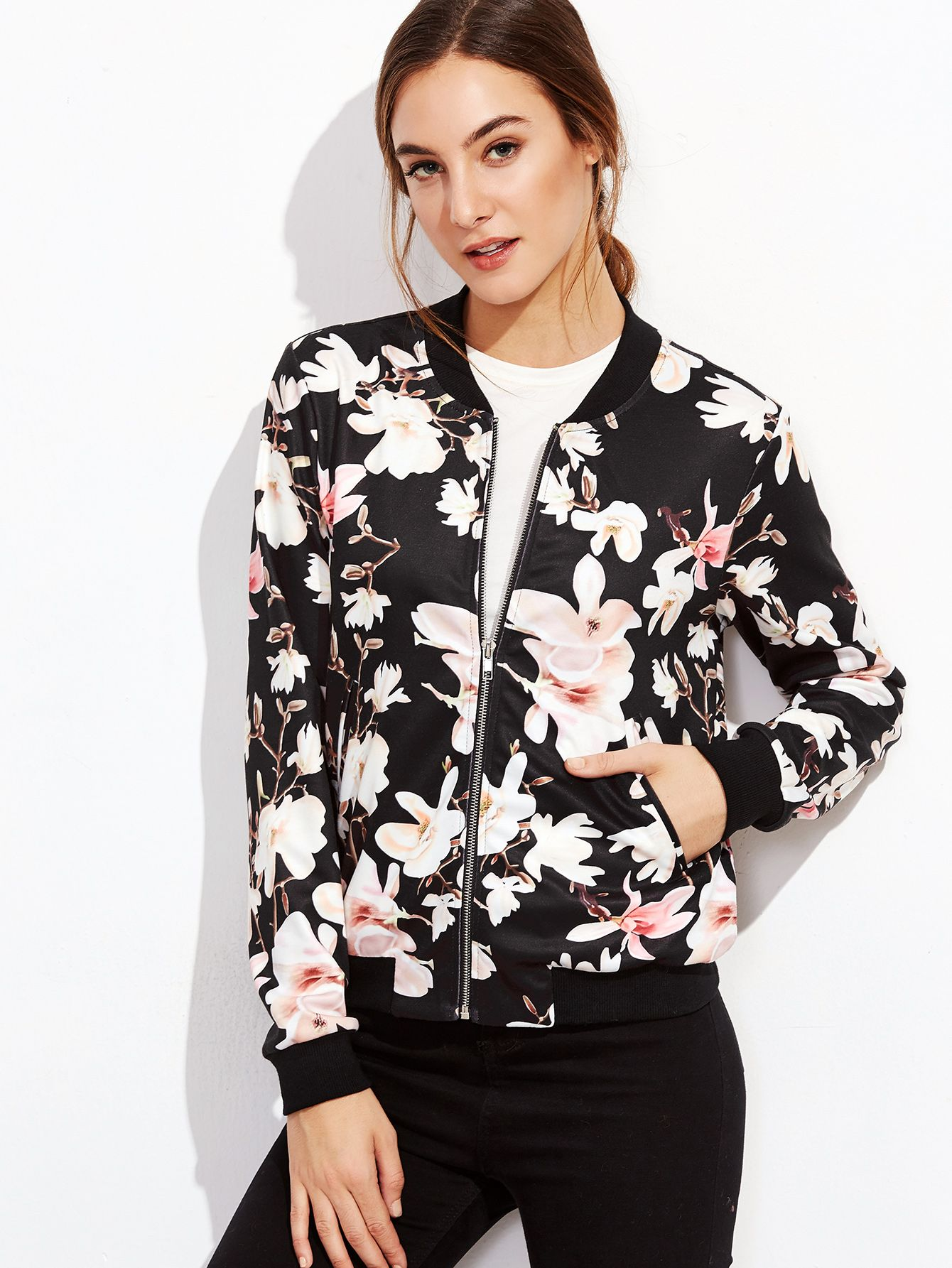 30ec933e379 Shop Black Flower Print Zip Up Bomber Jacket online. SheIn offers Black  Flower Print Zip Up Bomber Jacket   more to fit your fashionable needs.
