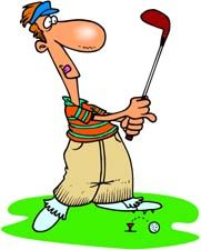 Golf old man. Funny clip art graphics