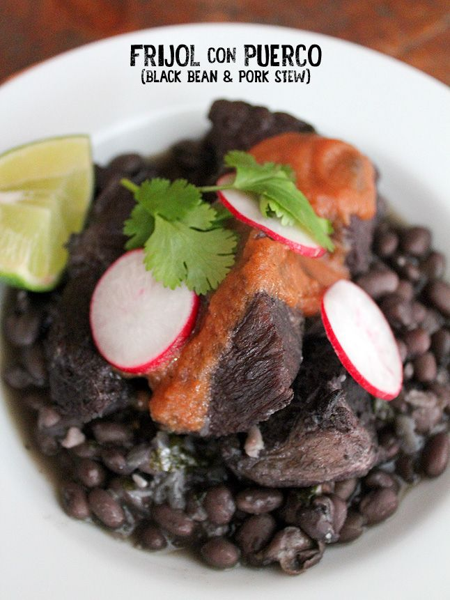 frijol con puerco (pork and black bean stew) | south of the border