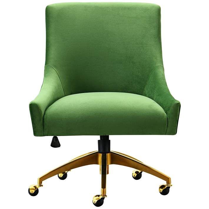 Beatrix Green Velvet Adjustable Swivel Office Chair