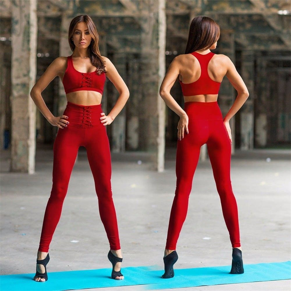 7dff214e97eab Best Seller Red Black Women Yoga Set Fitness Sport Bra Crop Tops Pants  Leggings Tracksuits Gym Workout Elastic Breathable Sportswear  sport   sportcenter
