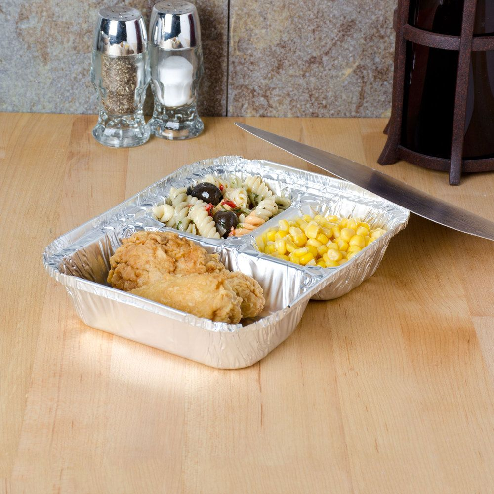 """Durable Packaging 8 1/2"""" x 6 3/8"""" Three Compartment Foil Tray with Board Lid - 250 / Case"""