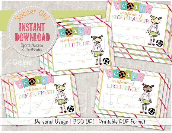 Soccer Girl Set of 4 Award Certificate Designs - Cute for fall - sports certificate in pdf