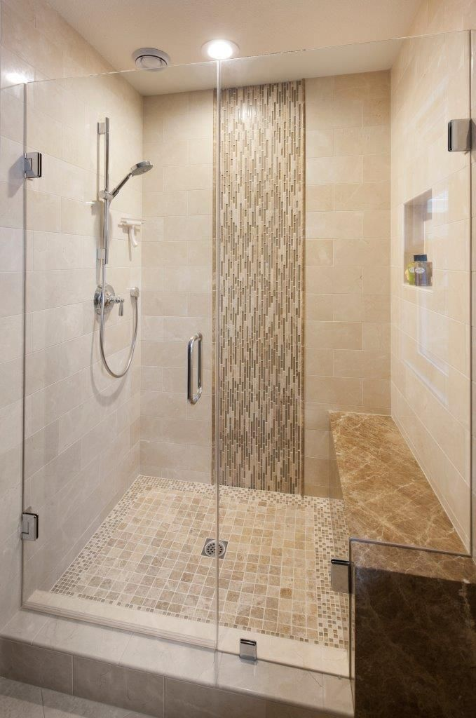 It S Mosaic Madness Inside This Shower Mosaicmonday Features Our Lucente Regale Linear Mosaic Crema Marfil Mos Master Bathroom Tub Tile Bathroom Shower Tile