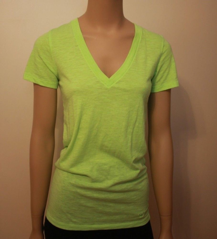 e5b144af5e513 Victoria's Secret PINK Yellow Lime Green Womens Shirt Size S Small ...