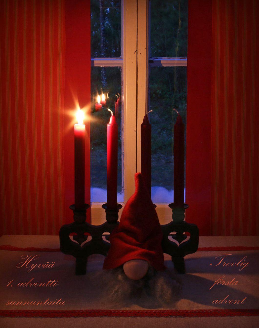 Hyvää 1. adventtisunnuntaita! Pieni liekki tänään syttyy  talven synkkään pimeyteen. Pieni liekki valon antaa,  toivon tuikkeen sydämeen.