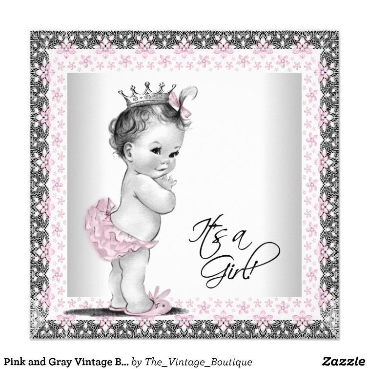 Pink and Gray Vintage Baby Girl Shower Card | Baby girl shower, Gray ...