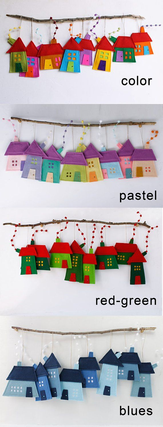 House ornaments Decoration, Set of eight Felt Houses for wall hanging, Christmas ornament gift for everyone, kids wall art, Rainbow colors #miniaturerooms