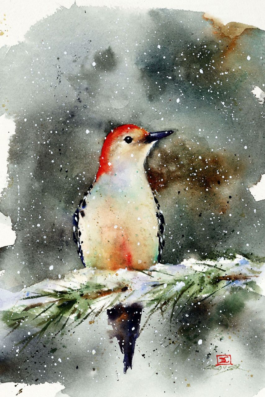 Woodpecker In Snow Watercolor Bird Nature Paintings Watercolor Art
