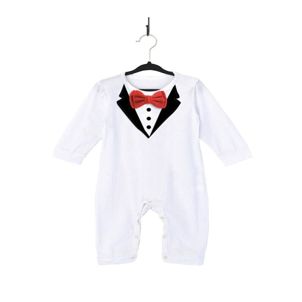 a66433383a89 Newborn Boy s Black and White Tuxedo Romper Black And White Tuxedo