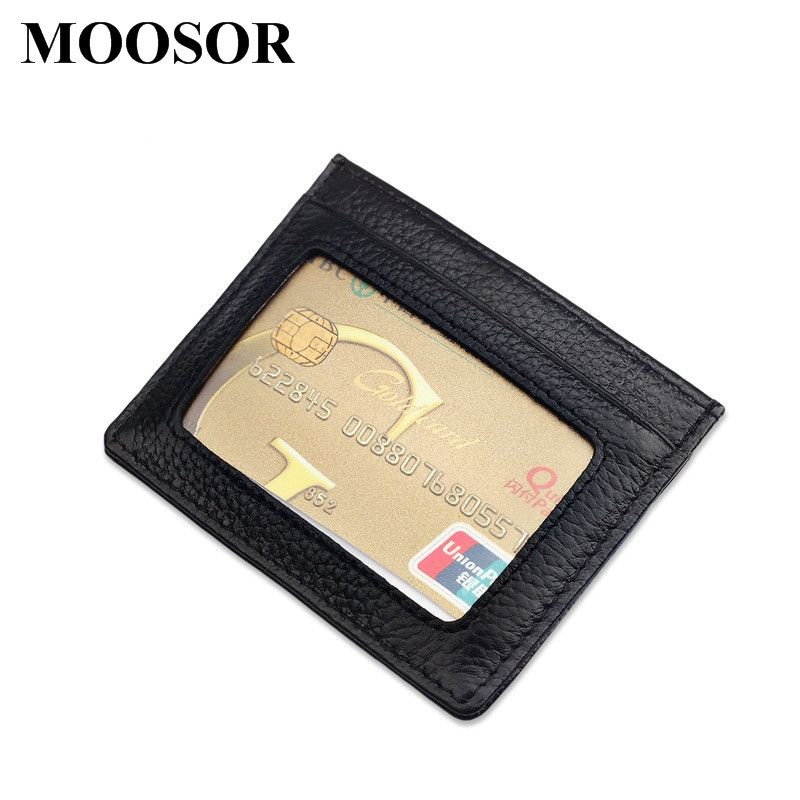 New Genuine Leather Women Men ID Card Holder Card Wallet Purse ...