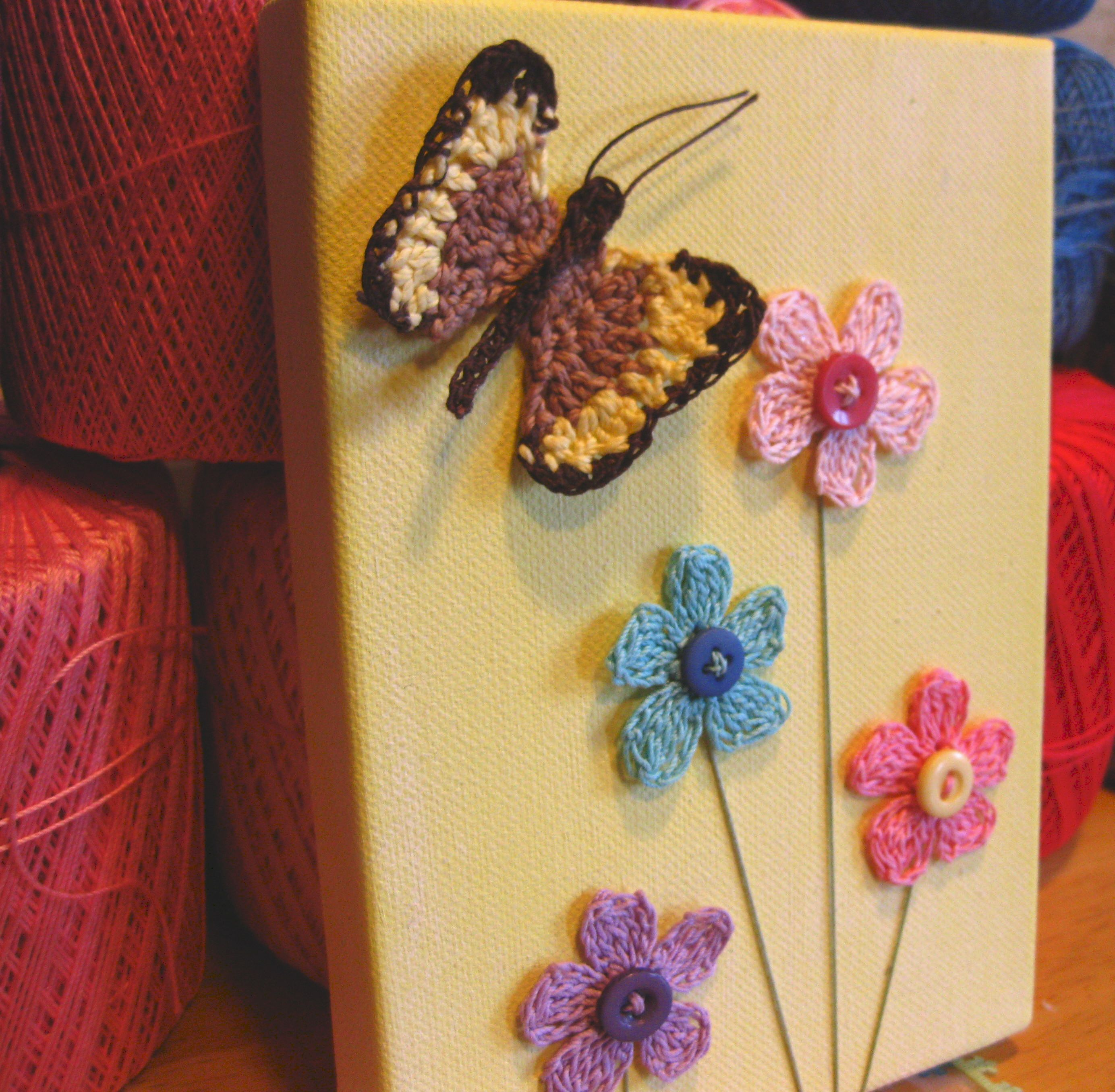 Little girls wall hanging with crochet flowers and butterfly on ...