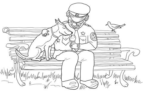 Officer Buckle Sharing Icecream with Gloria coloring page