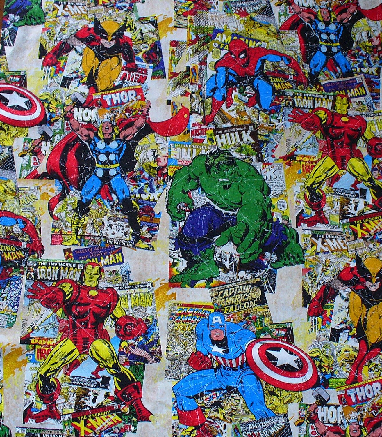 """Marvel Comic Book Covers Fabric / 32"""" By 44"""" / Superheroes"""