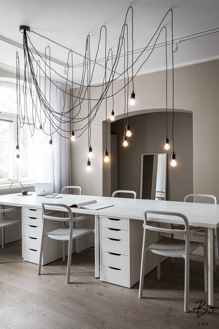 Contemporary Office Design With Impressive Lighting Contemporary Office Design Home Office Design Modern Office Decor