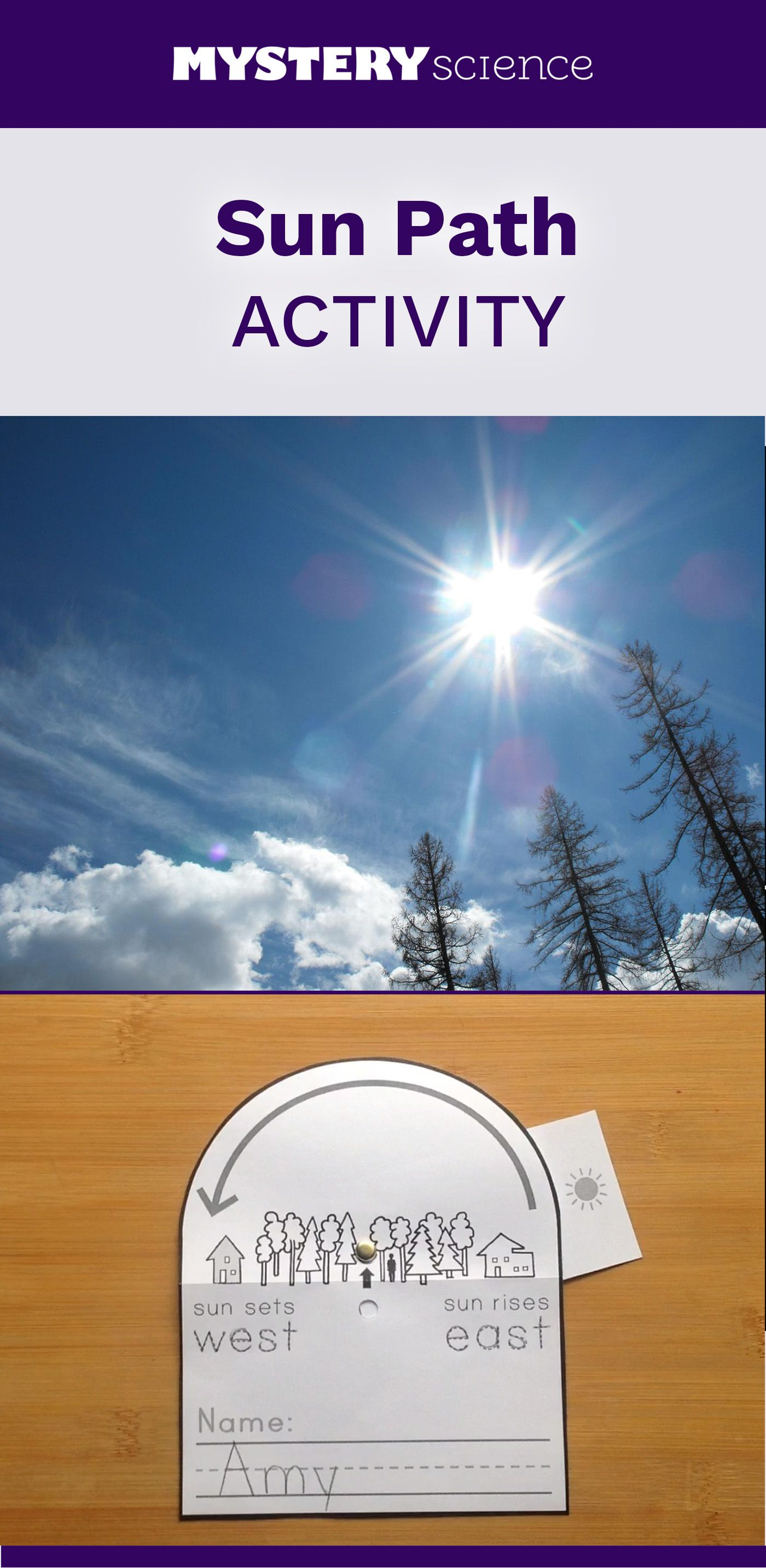 hight resolution of Sun Path Activity - free hands-on science activity for 0th