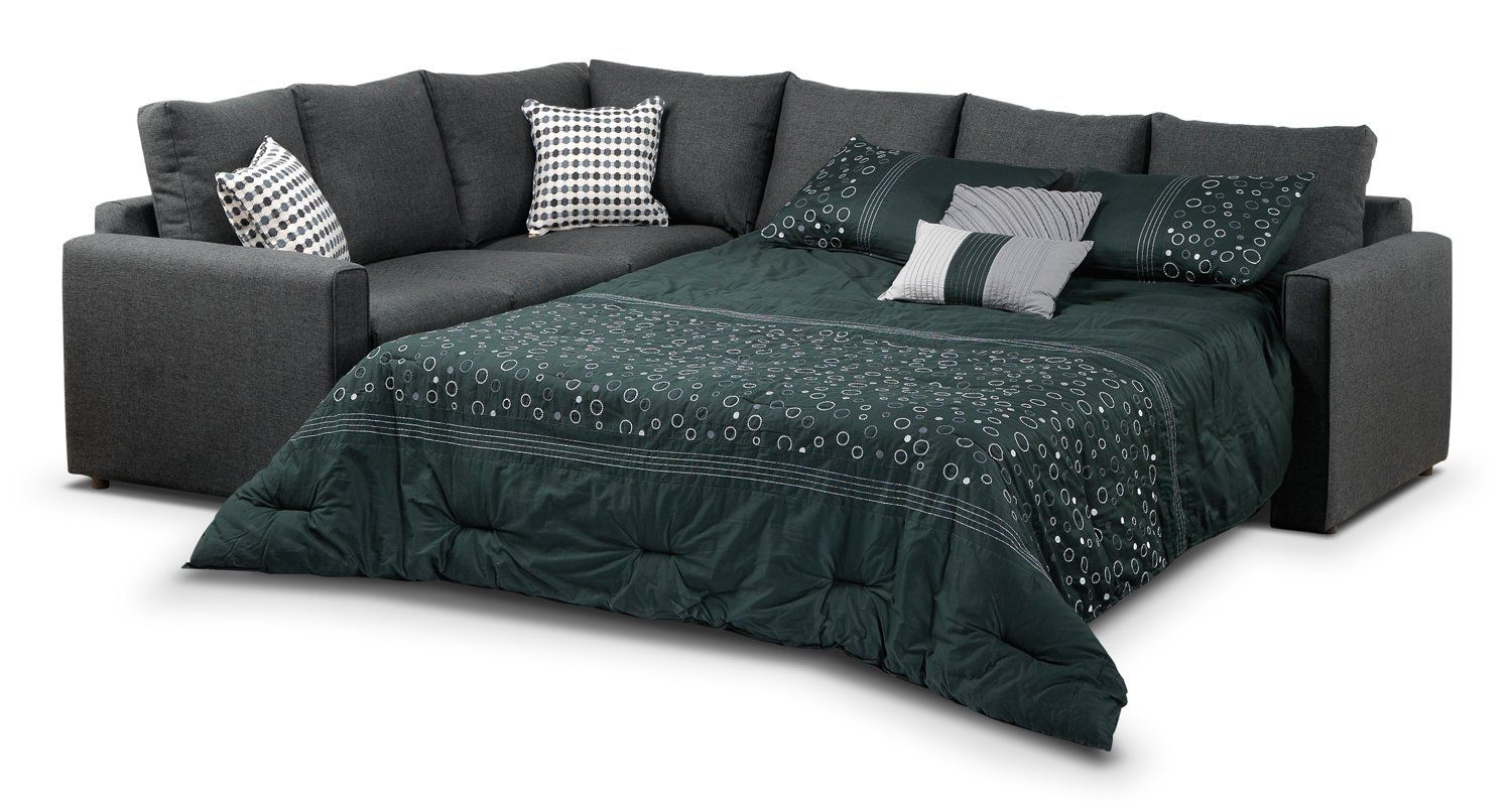 Athina 2 Piece Sectional With Right Facing Queen Sofa Bed Charcoal Sofa Bed Murphy Bed Plans Modern Murphy Beds