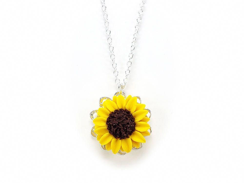 ffd9209b4a Sunflower Charm Necklace #sunflowerjewelry. Sunflower Charm Necklace  #sunflowerjewelry Glass Jewelry, Resin Jewelry, Pearl Jewelry, Gold  Jewellery